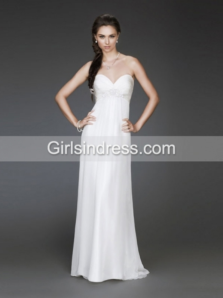 Elegant Strapless Sheath Floor-length Chiffon Evening Dress