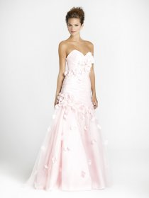 Gorgeous Sweetheart Flowers Satin & Organza A-line Engagement Dress
