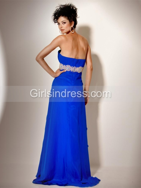 Gorgeous Strapless Beading A-line Chiffon Floor-length Prom Dress