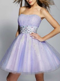 Lovely A-line Organza&Satin Strapless Beaded Graduation Dress