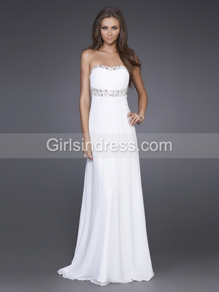 Stunning Strapless Jewel Backless Sweetheart Satin Evening Dress
