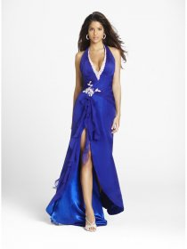A-line Deep V-neck Rayal Blue Satin & Chiffon Beaded Evening Dress