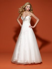 A-line Straps Beading Satin&Organza Spaghetti Engagement Dress