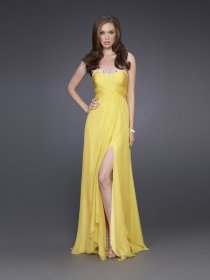 A-line Strapless Furcal Sweethear Satin Evening Gown