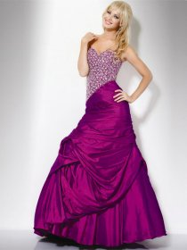 A-line Strapless Glittering Beading Satin Evening Dress