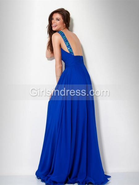 A-line Straps Blue Chiffon Sweeping Train Prom Dress