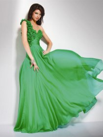 Attractive One-shoulder Flowers Sleeveless Chiffon Prom Dress