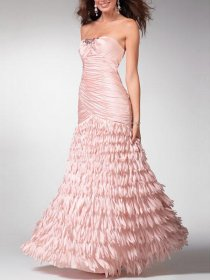 Attractive Satin A-line Strapless Cascading Backless Prom Dress