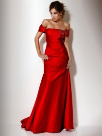 Attractive Sheath Off-the-shoulder Beading Satin Evening Dress