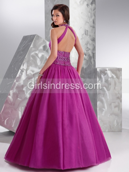 Ball Gown Jewel Beading Organza Engagement Dress