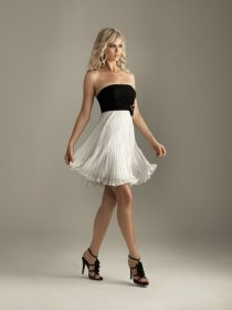 Black And White Strapless Graduation Dress