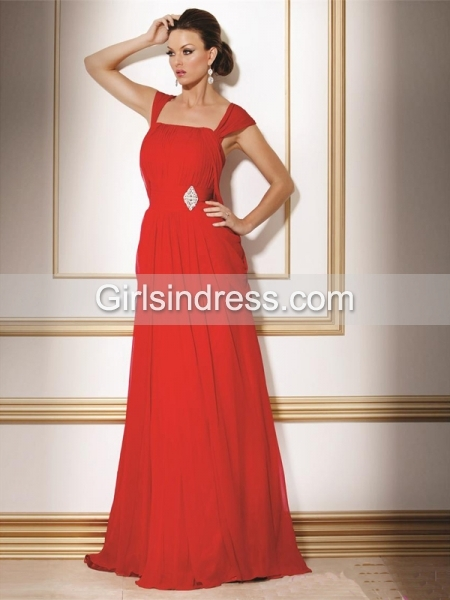 Elegant A-line Straps Beading Chiffon Evening Dress