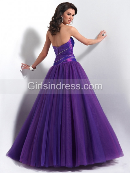 Elegant Ball Gown Sweetheart Tulle & Satin Engagement Dress