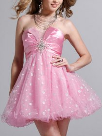 Fancy Dotted Strapless Crystals A-line Organza&Satin Graduation Dress