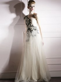 Fantastic A-line Embroidery One Shoulder Chiffon Prom Dress
