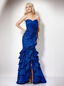 Gorgeous Sheath Sweetheart Cascading Ruffle Satin Evening Dress