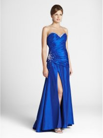 Gorgerous A-line Sweetheart Beaded Satin Royalblue Evening Dress