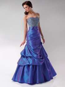 Mermaid Satin Beaded Floor-length Prom Dress