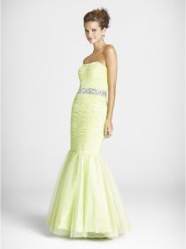 Mermaid Strapless Beaded Pleated Satin&Organza Evening Dress