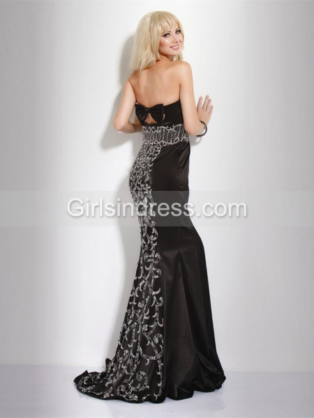 Mermaid Strapless Beading Satin Gorgeous Evening Dress