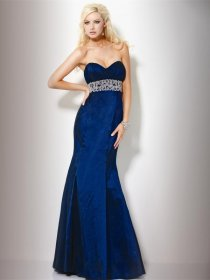 Mermaid Sweetheart Floor-length Satin Embroidery Evening Dress