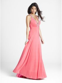 V-neck Beaded A-line Satin & Chiffon Sleeveless Prom Dress
