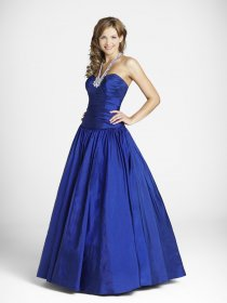 Royal Blue A-line Halter Beaded Satin Prom Dress