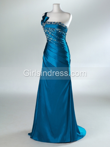 Sheath/Column One-shoulder Beaded Satin Evening Dress