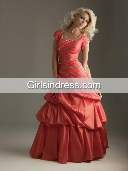 Short Sleeves Paillette Satin Prom Dress