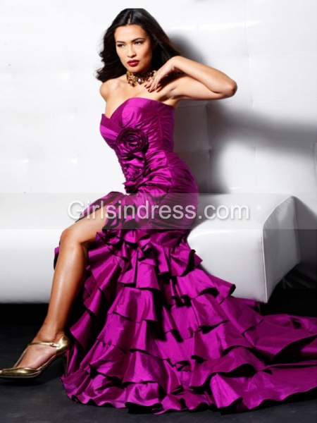 Trumpet Sweetheart Cascading Ruffle Satin Sweeping Evening Dress