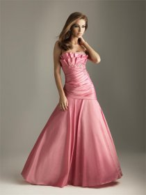 Satin A-line Strapless Evening Dress