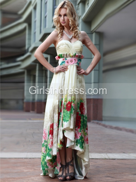 A-line Sleeveless Spaghetti Straps Beaded Asymmetrical Satin Prom Dress