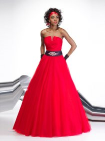 A-line Strapless Beading Organza&Satin Engagement Dress