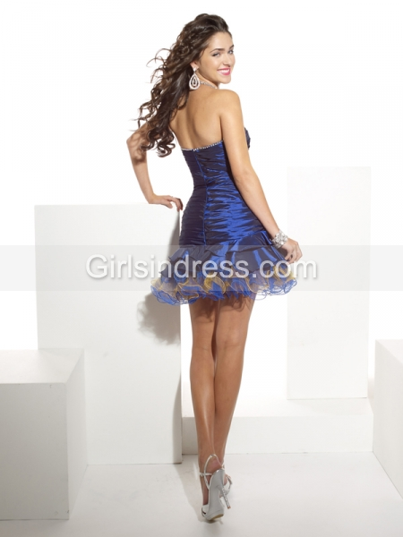 Gorgeous Cascading Ruffle Satin Strapless Cocktail Dress