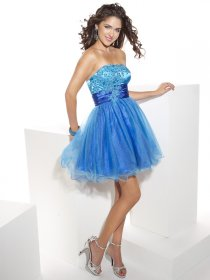 Gorgeous Strapless Applique Organza &Satin Graduation Dress