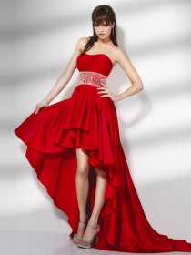 Gorgeous Sweetheart Satin Asymmetrical Red Evening Dress