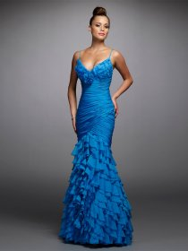 Mermaid Spaghetti Straps Cascading Ruffle Evening Dress