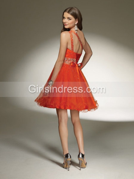 Purple One-shoulder Beading Short Organza Graduation Dress