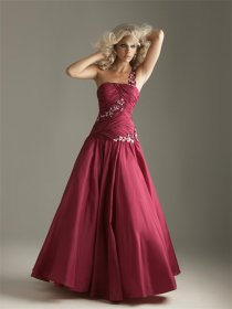 Satin Sash Floor Length Prom Dress