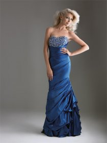 Satin Strapless Beaded Evening Dress