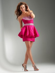 Sheath Strapless Satin Ruffle Beading Cocktail Dress