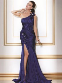 Elegant One-shoulder Satin Appliques Sheath Evening Dress