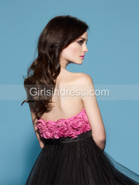 A-line Strapless Flowers Organza&Satin Cocktail Dress