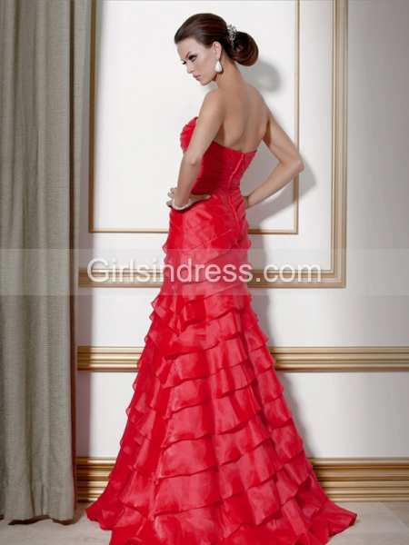 Attractive Sleeveless Cascading Ruffle Floor-length Satin Prom Dress
