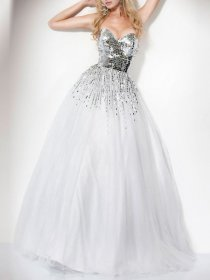 Ball Gown Strapless Sweetheart Sequins Organza Engagement Dress