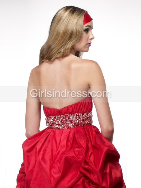 Ball Gown Sweetheart Beading Satin Cocktail Dress