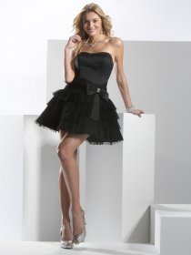 Cute Sweetheart Organza&Satin Little Black Homecoming Dress