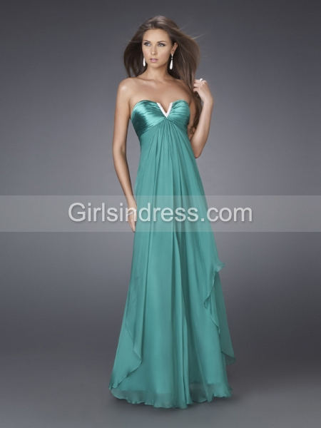 Elegant V-neck Strapless A-line Satin Prom Dress