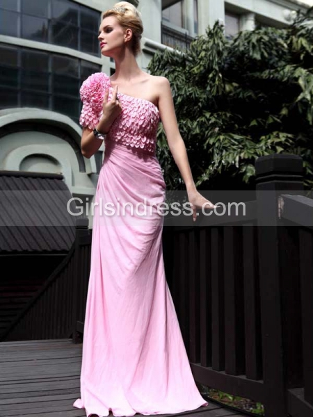 Exquisite Satin Column/Sheath One Shoulder Beaded Evening/Prom Dress