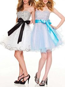 Fantastic A-line Bow Organza Sweetheart Sequins Graduation Dress